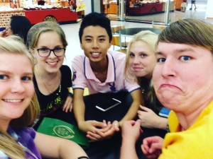 Exchange student selfie when hanging out at the mall.