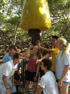 Largest cashew tree in the world (and exchange students trying to eat a plastic fruit)