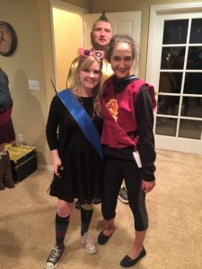 In the back: The Golden Snitch. On the left (me): Luna Lovegood. On the right: Member of the Gryffindor Quidditch Team