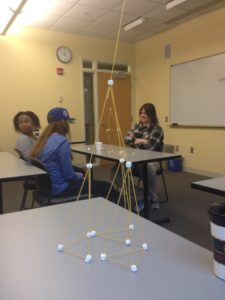 We made structures out of marshmallows and uncooked spaghetti last Thursday.